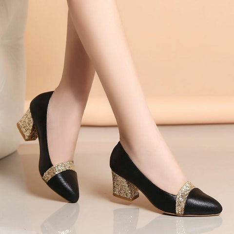 PF Fashion Black and Golden Party Wear Heel - Ambitionmart