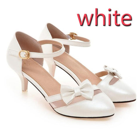 PF Fashion White Heel With Bow - Ambitionmart