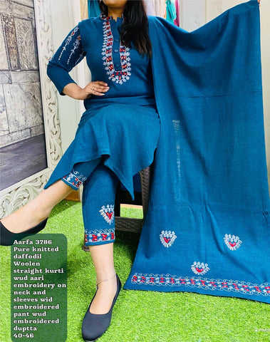 Aarfa Imported Woolen Kurti With Pant and Dupatta 3786 - Ambitionmart