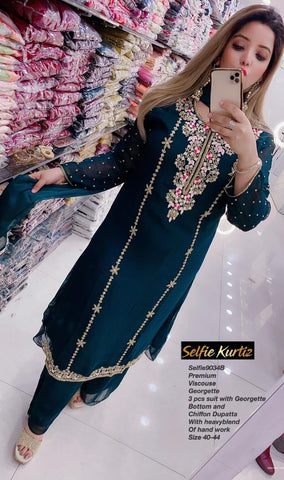 Selfie Kurtiz Georgette 3pc Set 9034B