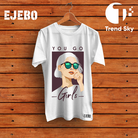 Ejebo Round Neck You Go Girls T-Shirt For Girls - Ambitionmart