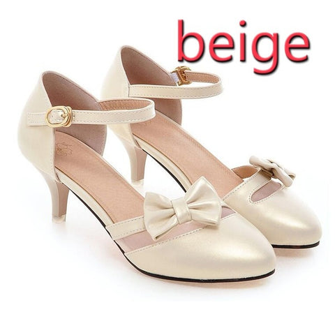 PF Fashion Beige Heel With Bow - Ambitionmart