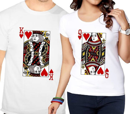 Ejebo Printed King & Queen Couple Round Neck T-Shirt Combo - Ambitionmart