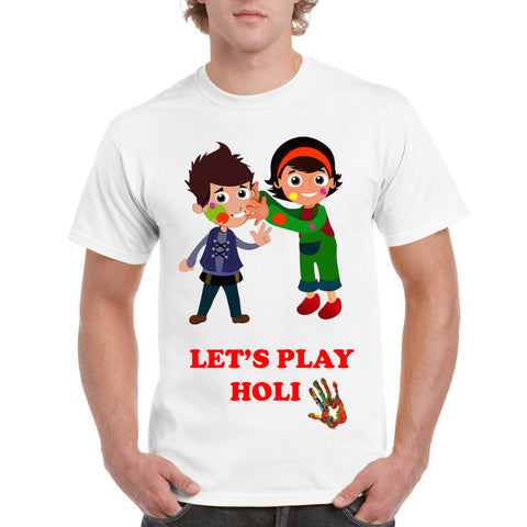 Let's Play Holi Colorful Men's Round Neck T-Shirt - Ambitionmart
