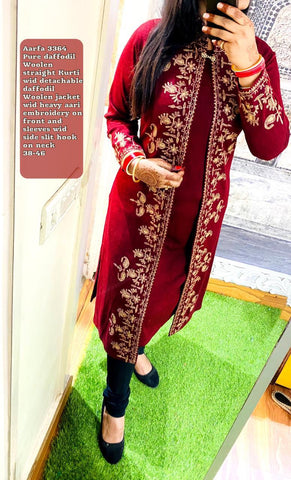 Aarfa Pure Woollen Straight Kurti With Detachable Embroidery Jacket 3364 - Ambitionmart
