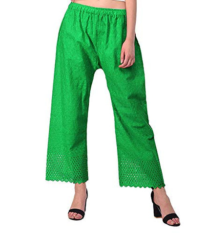 Ejebo Women's Lucknow Chikan Embroidred Cotton Plazo - Ambitionmart