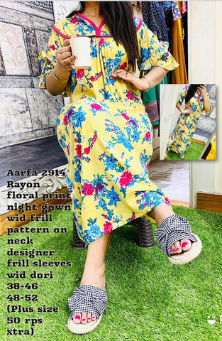 Aarfa Rayon Floral Printed Night Gown 2914 - Ambitionmart