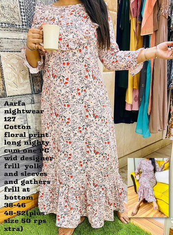 Aarfa Floral Print Long Nighty 127 - Ambitionmart