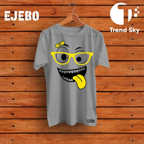 Ejebo Round Neck Funny Face T-Shirt For Girls - Ambitionmart