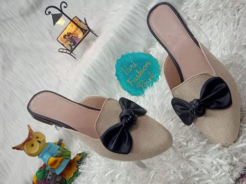 PF Fashion Jute Mule With Black Bow - Ambitionmart