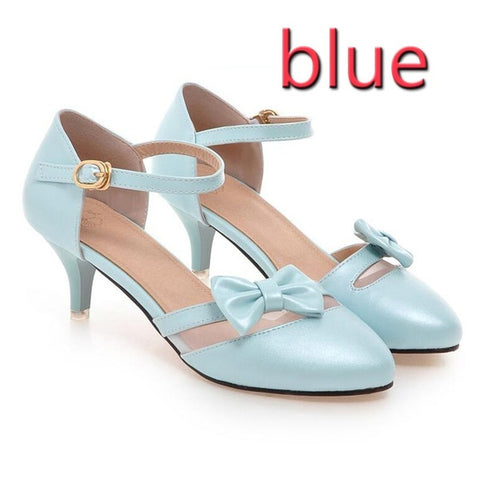 PF Fashion Blue Heel With Bow - Ambitionmart