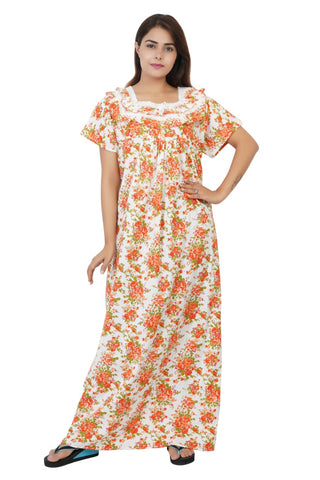 Himanshu Handloom Floral Print Cotton Nighty (MultiColor) - Ambitionmart