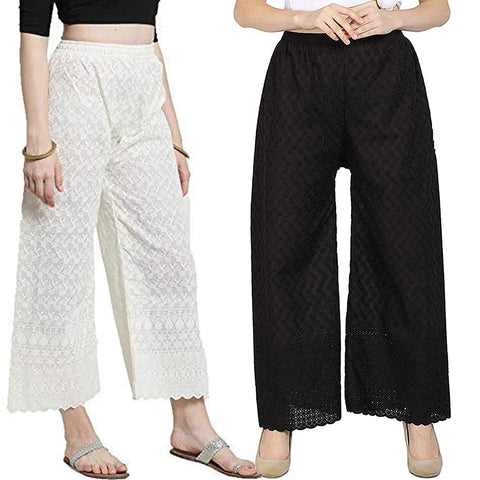 Ejebo Women's Lucknowi Chikan Cotton Plazo (Pack Of 2) - Ambitionmart