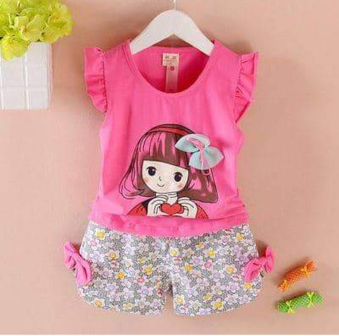Kids Beautiful Pink Top & Short Set - Ambitionmart