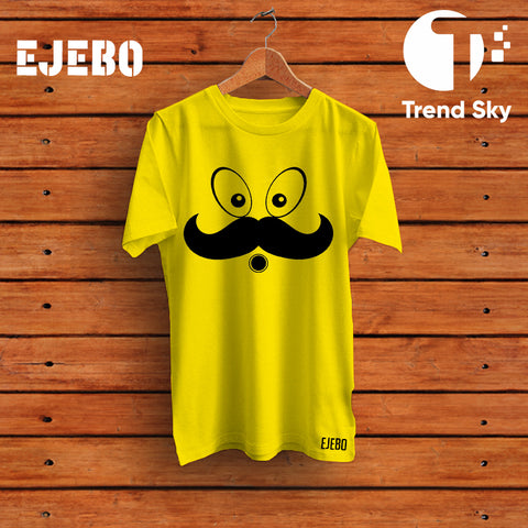 Ejebo Round Neck Mustache T-Shirt - Ambitionmart