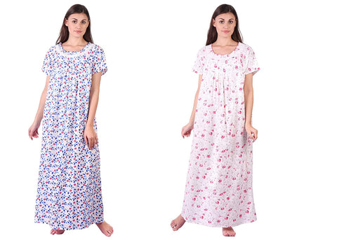 Himanshu Handloom Floral Print Cotton Nighty Combo - Ambitionmart