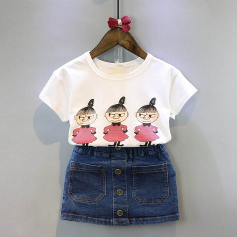 Kids Beautiful Printed Top And Denim Skirt - Ambitionmart