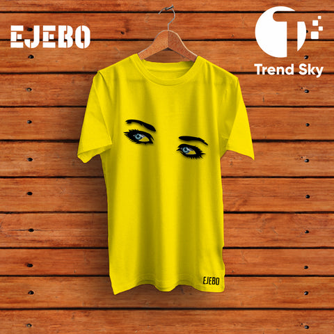 Ejebo Round Neck Beautiful Eyes Girl T-Shirt - Ambitionmart