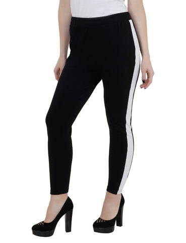 KA Styles Women Black & White Comfy Tights - Ambitionmart