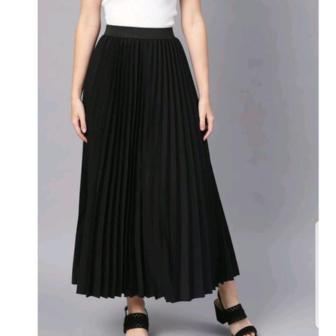KA Styles Satin Pleated Ceremonial Black Skirt - Ambitionmart