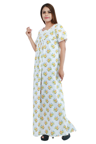 Floral Cotton Nighty (Yellow) - Ambitionmart