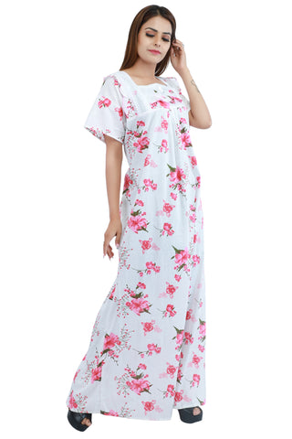Floral Cotton Nighty (Pink) - Ambitionmart