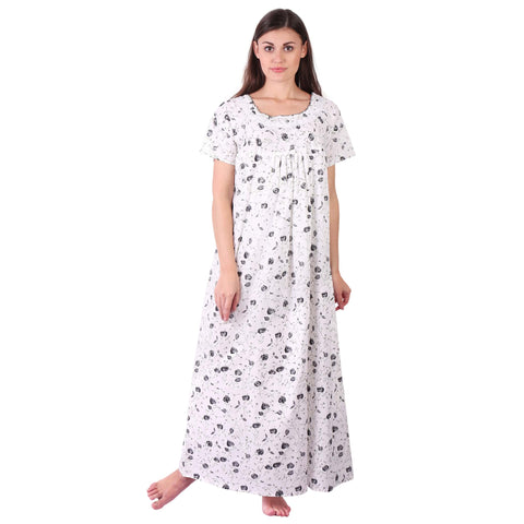 Black Rose Printed Cotton Nighty - Ambitionmart