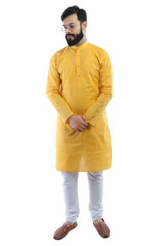 Men's Yellow Cotton Kurta - Ambitionmart