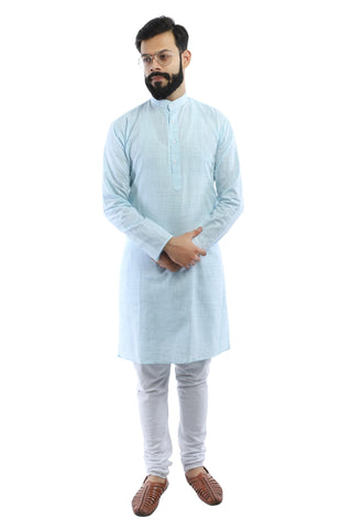 Mens Light Blue Cotton Kurta - Ambitionmart