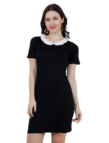 KA Styles Black And White Peter Pan Casual Bodycon Dress - Ambitionmart