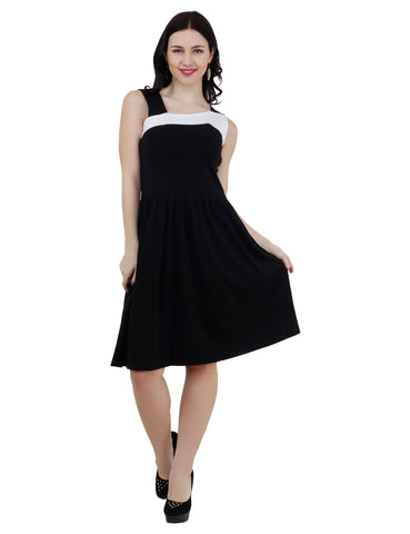 KA Styles Women Gathered Black & White Strap Shoulder Dress - Ambitionmart