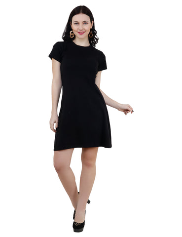 KA Styles Black A-Line Everyday Wear Comfortable Dress - Ambitionmart