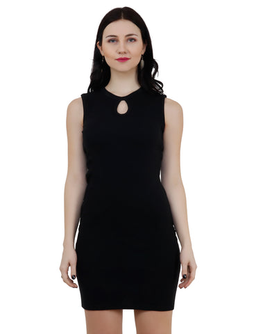 KA Styles Front Loop Women Black Bodycon Dress - Ambitionmart