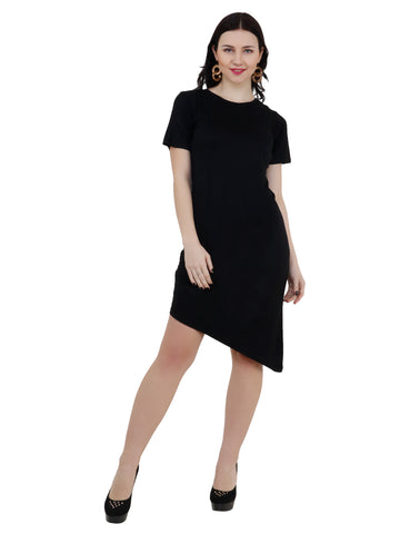 KA Styles Black Side Slant Asymmetric Dress - Ambitionmart