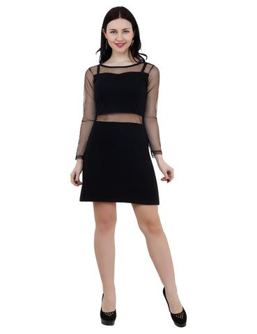 KA Styles Women A-Line Black Knee Length Dress - Ambitionmart