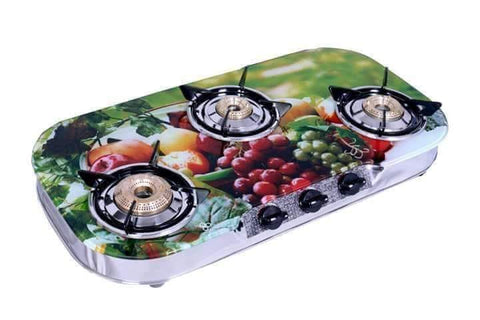 UGI Multicolour Glass 3 RB Stainless Steel Gas Stove (3 Burner) - Ambitionmart