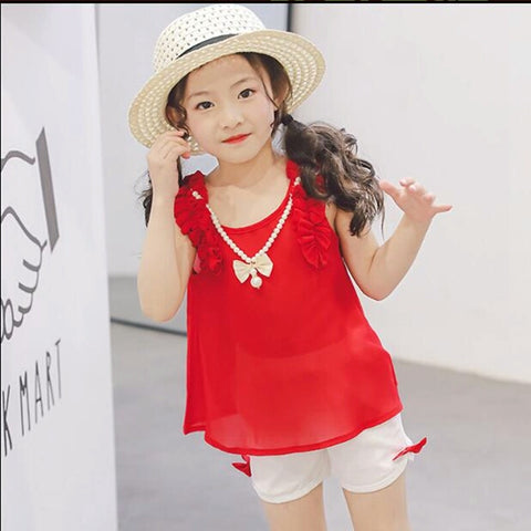 Beautiful Red Top and Shorts Set - Ambitionmart
