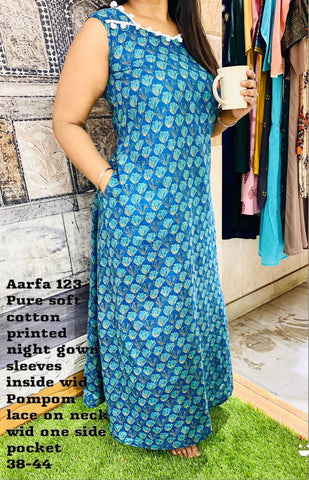 Aarfa Cotton Printed Night Gown 123 - Ambitionmart