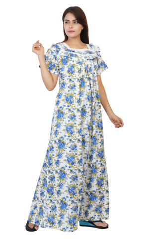 Himanshu Handloom Floral Print Cotton Nighty (Blue) - Ambitionmart