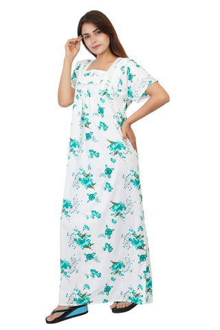Himanshu Handloom Floral Print Cotton Nighty (Teal) - Ambitionmart