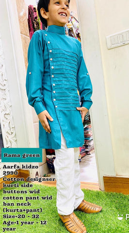 Aarfa Kidzo Rama Green Cotton Designer With Pant 2990 - Ambitionmart