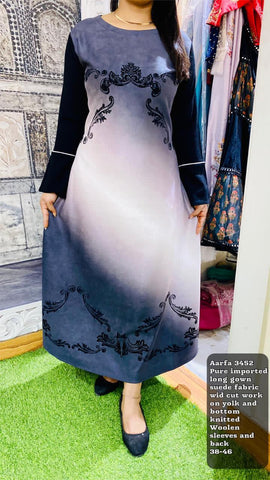 Aarfa Suede Imported Long Gown 3452 - Ambitionmart