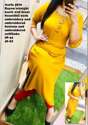 Aarfa Rayon Straight Kurti With Heavy Embroidery 2876 - Ambitionmart