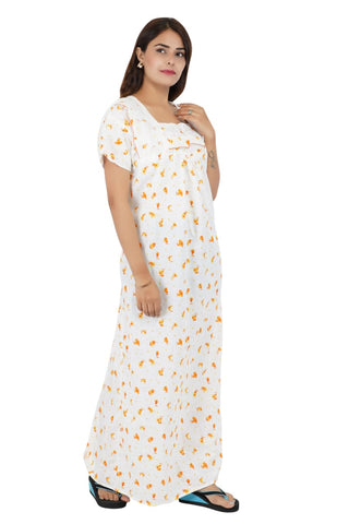 Himanshu Handloom Floral Print Cotton Nighty (Yellow) - Ambitionmart