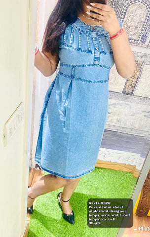 Aarfa Pure Denim Short Middi 3528 - Ambitionmart