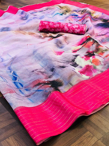 Sahyog International Jutechex Printed Sarees With Pink Border - Ambitionmart