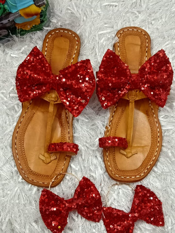 PF Fashion Red Bow Kolhapuri - Ambitionmart
