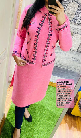 Aarfa Pure Woollen Kurti With Detachable Jacket 3310 - Ambitionmart