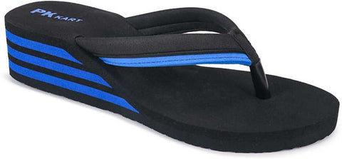 PKKART Black High Heel Flip Flop For Women & Girls (SVF-03-Black-Blue) - Ambitionmart