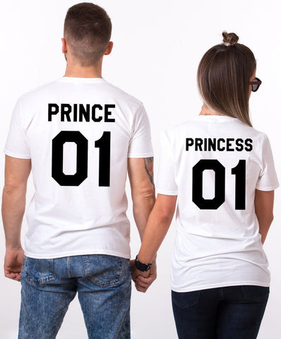 "Couple T-Shirt 2pc Set ""Prince Princess"" - Ambitionmart"